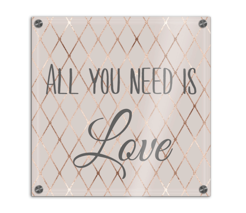 "Wand-Bild ""All you need is Love"" auf Acrylglas bedruckt 26×26 cm"